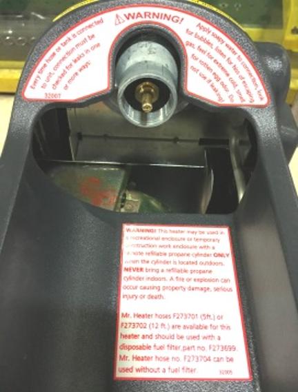 Portable Buddy Side Warning Label
